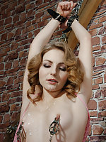 Slavegirl cuffed, tits-clamped, trained and used