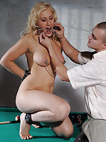 Naked blonde tied to a ladder, whipped and fucked