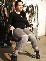 Struggling babe chair-tied and cleave-gagged tight