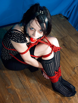 Luisa roped and harness ball-gagged